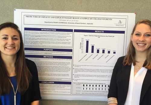 Two students with Undergraduate Research poster